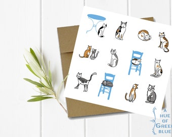 Greek Cats Greeting Card with Kraft Envelope