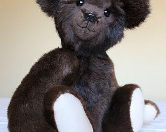 OOAK  Fox and Calf Hide Teddy bear From Re-Purposed Vintage Fur Coats