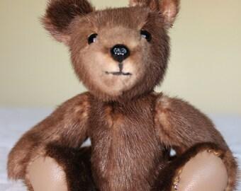 OOAK  Calf Hide Tiny Teddy bear From Re-Purposed Vintage Fur Coat