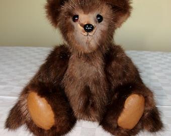 OOAK Glow Mink Teddy bear From Re-Purposed Vintage Fur Coat