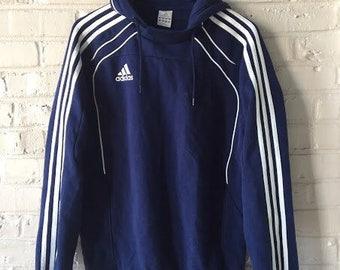Vintage Raglan Sleeve Adidas Blue Hooded Sweatshirt