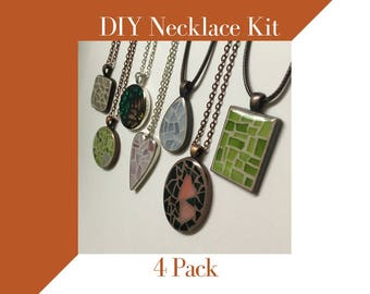 Jewelry Making Kit, Party Activity, Glass Mosaic Necklace Activity, 4 Pack Craft Kit, Jewelry Mosaic Making Necklace Kit, Birthday Party Fun