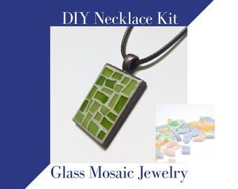 DIY Gifts for mom, Make Your Own Secret Santa Gift, Glass Mosaic Necklace Kit Teenage Girl Gift Activity, Easter Pastel Colors DIY Craft Kit