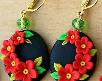 Black and red polymer clay earrings