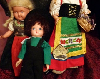 THREE VINTAGE  Souvenir DOLLS, one Amish, one Italian, and one German.  Gretel, Magis Roma, Lenci like hand painted felt face.