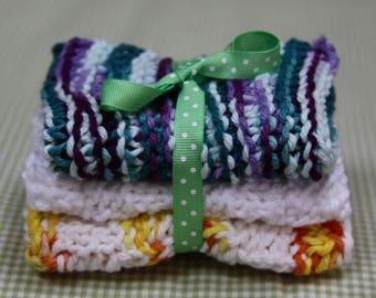 Knit Dish Cloths, Blue Multi/White/Yellow Multi