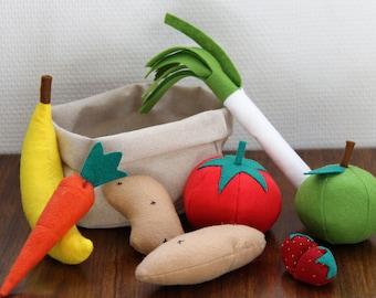 Basket of vegetables and fruits in felt