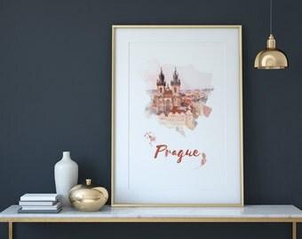 Prague digital printing. Prague poster, Prague decor, Prague art print, home decor
