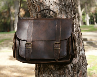 13 inch leather briefcase/ messenger bag/ shoulder bag/ laptop bag/ old school bag/ mens bag/ crossbody bag/ code 80 dark brown