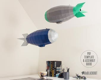 Low Poly Airship, Steampunk Airship, Airship Papercraft, Paper Model Blimp, Ceiling Decor - DIY Printable PDF Papercraft Template Download