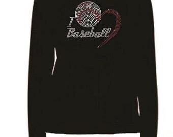Rhinestone Love Baseball Lightweight T-Shirt  or Iron On Design                                      022713