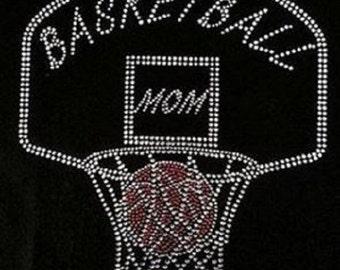 Basketball Mom Hoop Rhinestone Iron on Transfer                QN0P