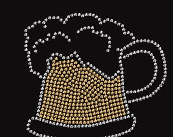 Beer Rhinestone Iron On Transfer or  Ladies T Shirt Design           0403282