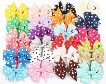 "3"" 24colors Dovetail Grosgrain Dot Ribbon Kids Bows with Clip Kids Girl Organza Hair Bows For Toddle Hair Accessories"