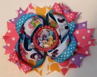 My Little Pony Hair Bow, Girls Hair Bow, Boutique Hair Bow, Birthday Hair Bow, Bottle Cap Bow, Over the Top Bow, Stacked Hair Bow