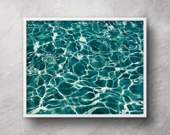 Ocean art print, Digital download, Printable art, Abstract water art, Sea reflection, Seascape, Swimming pool reflection, Wall art