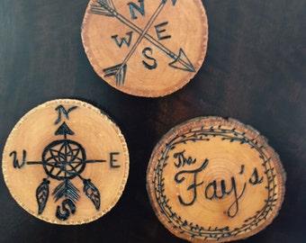 Basswood Coasters Set of (4) Custom Wood burned Designs