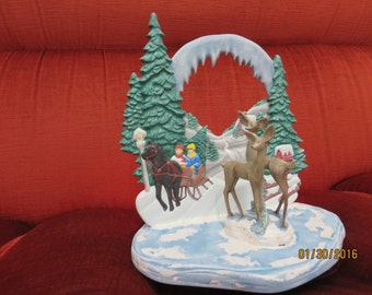Lamp 3D Christmas, with sleigh and fawn