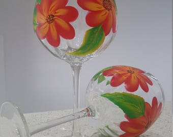 One Stroke Hand Painted Wine Glasses (Set of 4)
