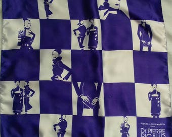 Vintage scarf. 1980s. Pierre-Louis Marcia for Dr Ricaud, Paris. Purple and white. Dramatic design.