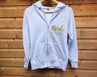 Bride In Training Hoodie, Future Mrs Hoodie, Personalised Hoodie, Wedding Hoodie, Hen Party Zip Sweatshirt, Personalized Hoodie,