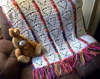 Crochet Afghan throw blanket for youth in white with rainbow trim