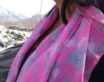 Beautiful spring pink, floral 100% pure crepe silk, neck scarf.