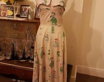 Original vintage 1950s courtesan novelty print dress size 8