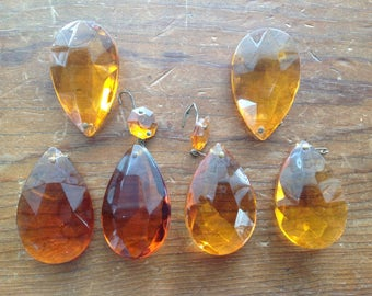 Antique Amber Chandelier Glass Prisms