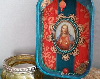 Cool Jesus shrine / shabby in turquoise