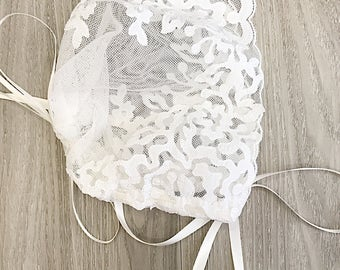 Lace baby christening baptism bonnet