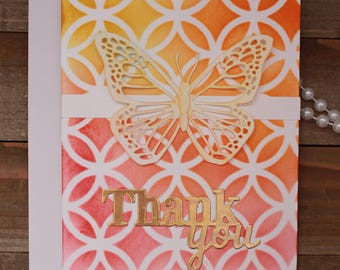Handmade Thank You Card, Butterfly, Blank Inside