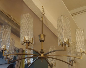 Chandelier brass and blown glass globes