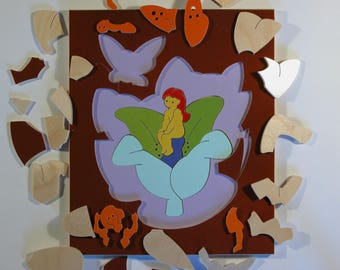Hans Christian Andersens fairy tale Thumbelina - Durable educational Danish handmade durable wodden puzzle in 2 layers made of 26 pieces
