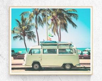 Combi VW Beach Art Print, Coastal Photography, Palm Tree Photo,  Modern Minimalist, Large Poster, Coastal Decor, Printable Digital Download