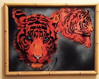 Custom hand painted lions on glass