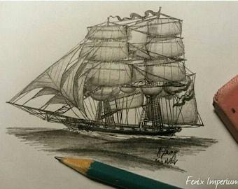 Nautical art, ship sketches