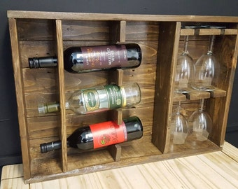 Hand crafted, rustic wine display case.