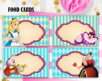 Alice Food cards Table cards Place Cards Printable digital food tents Table decor