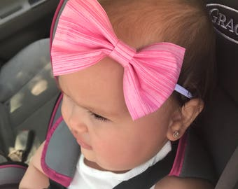 Pink stripped fabric bow