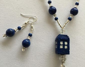 Blue Dr Who Police Box Pendant beaded Necklace