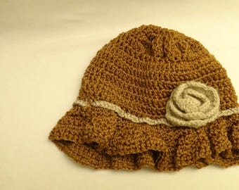 brown modish woolen hat for girls