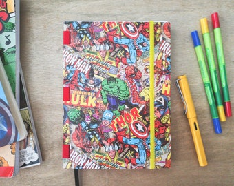 Handmade A5 Notebook ideal for Bullet Journal - Marvel-ous limited edition Vintage comics 256 pages dot grid lined blank sketchbook