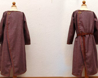Flap skirt, coat, wool, linen, trims, medieval, Viking, RUS, Slaven, reenact, LARP, children, Gr98