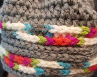Multi color and gray beanie