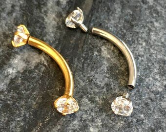 Gold Silver CZ Curved Barbell.Helix Rook Tragus Cartilage Eyebrow Barbell.5003.