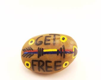 "Hand Painted ""Get Free"" River Rock"