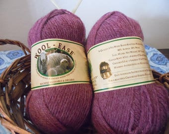 Wool Ease 4 Ply Wool Blend Worsted Weight Yarn in Dark Rose Heather Dye Lot 12909