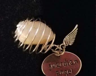 Gaurdian angel citrine gemstone keychain