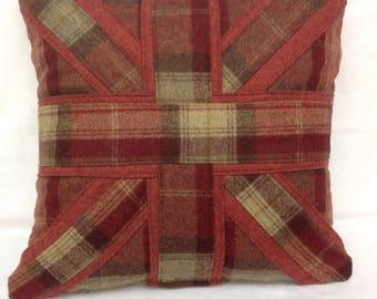 Abraham moon tartan Woollen Union Jack cushion